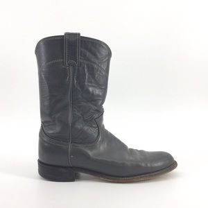 Justin Vintage Leather Cowboy Boots 8 Grey Pull On